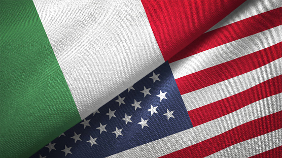 United States and Italy flag together realtions textile cloth fabric texture