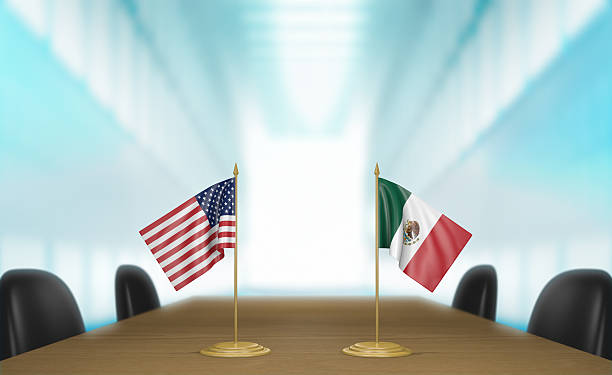 United States and Mexico relations and trade deal talks stock photo