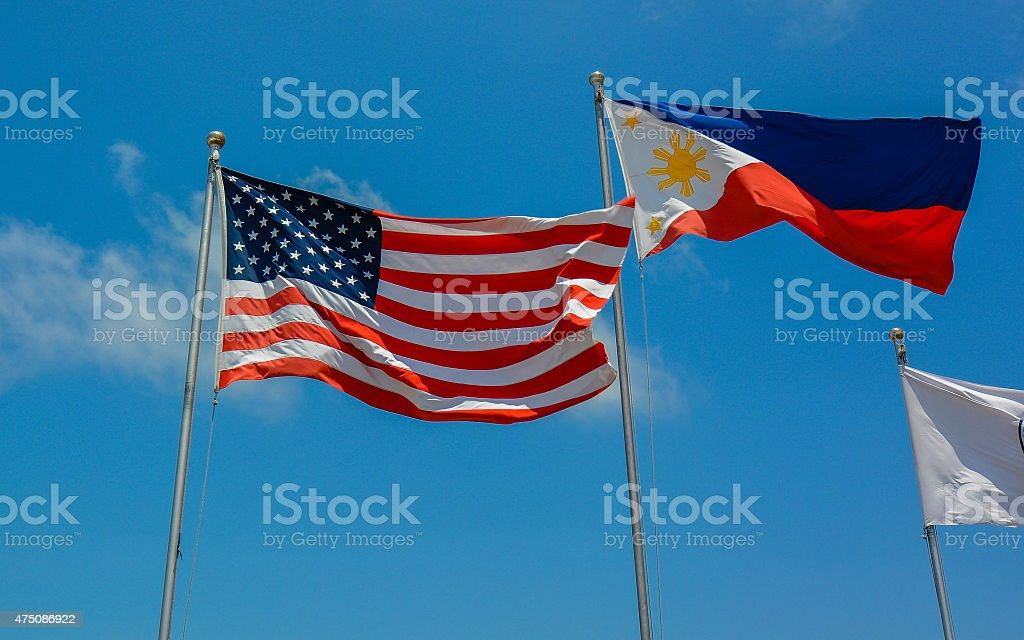 United States and Philippines Flags stock photo