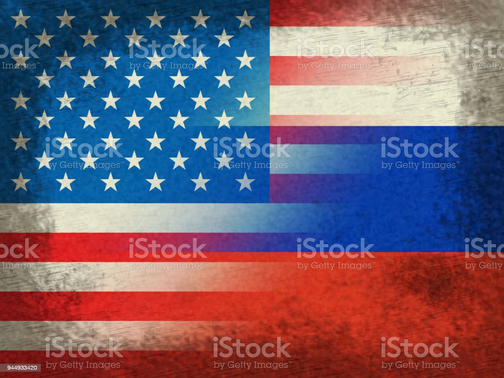 United States And Russian Flags Grunge Represents Hacking stock photo