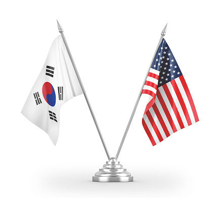 United States and South Korea table flags isolated on white