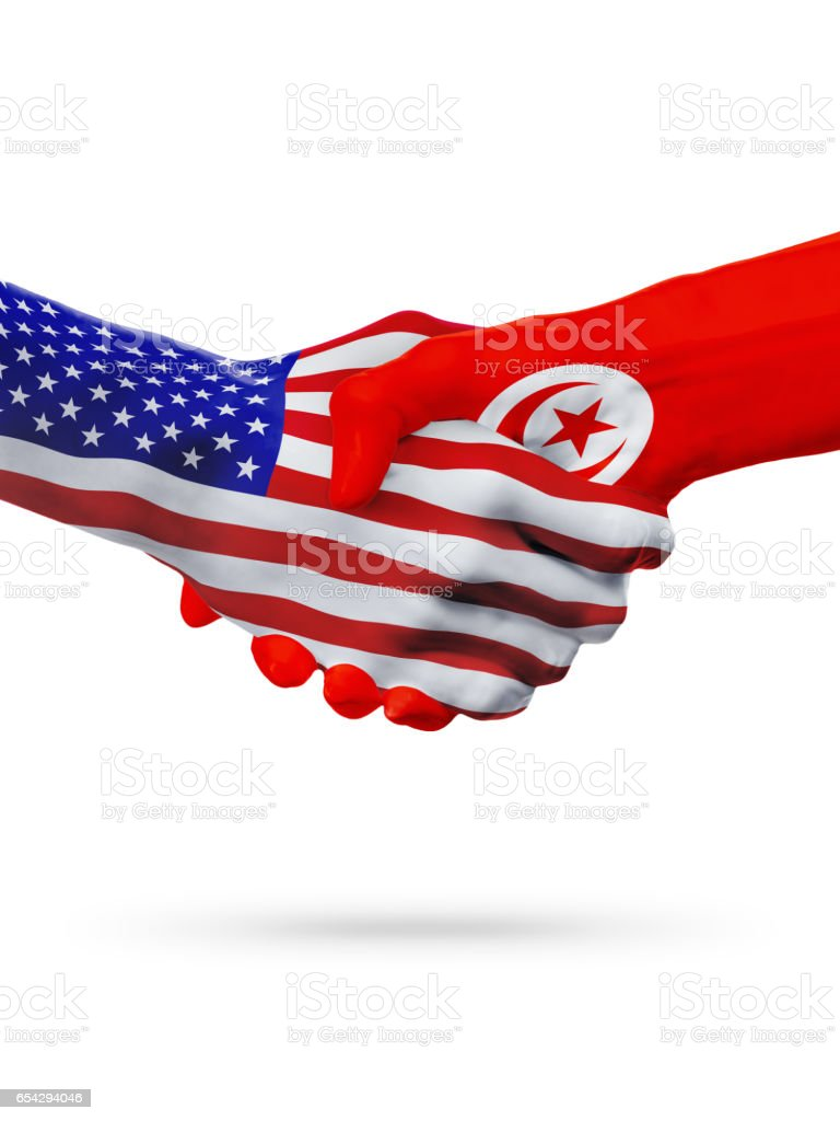 United States and Tunisia flags concept cooperation, business, sports competition stock photo
