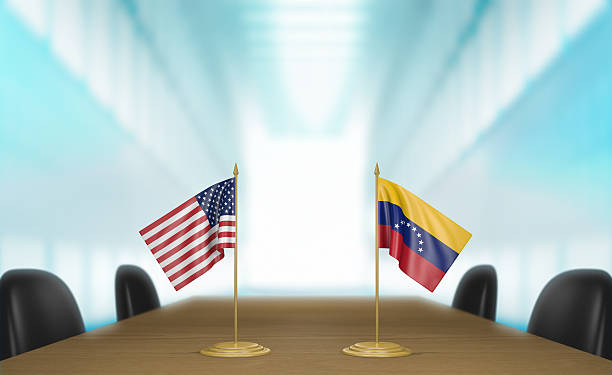 United States and Venezuela relations and trade deal talks - foto de stock