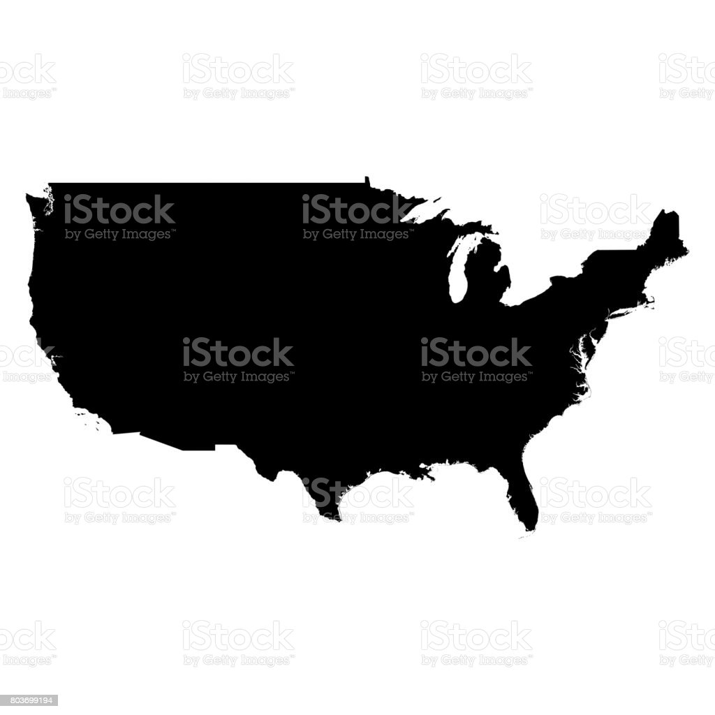United States Black Silhouette Map Outline Isolated on White 3D Illustration stock photo