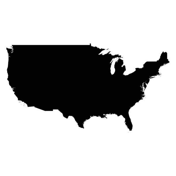 美國黑色剪影地圖輪廓上白色 3d 圖孤立 - 外型 個照片及圖片檔