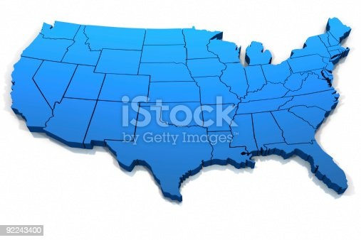 istock United States blue map outline 92243400