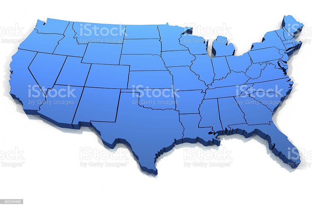 United States blue map outline stock photo