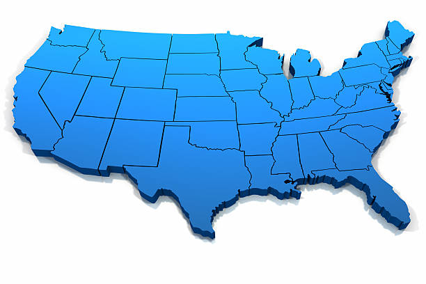United States blue map outline Three dimensional United States blue tone outline on white background. eastern usa stock pictures, royalty-free photos & images
