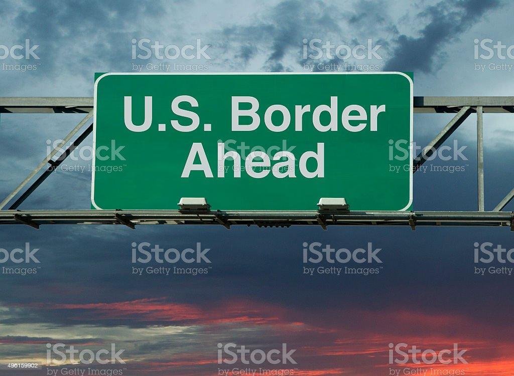 United States Border Ahead stock photo
