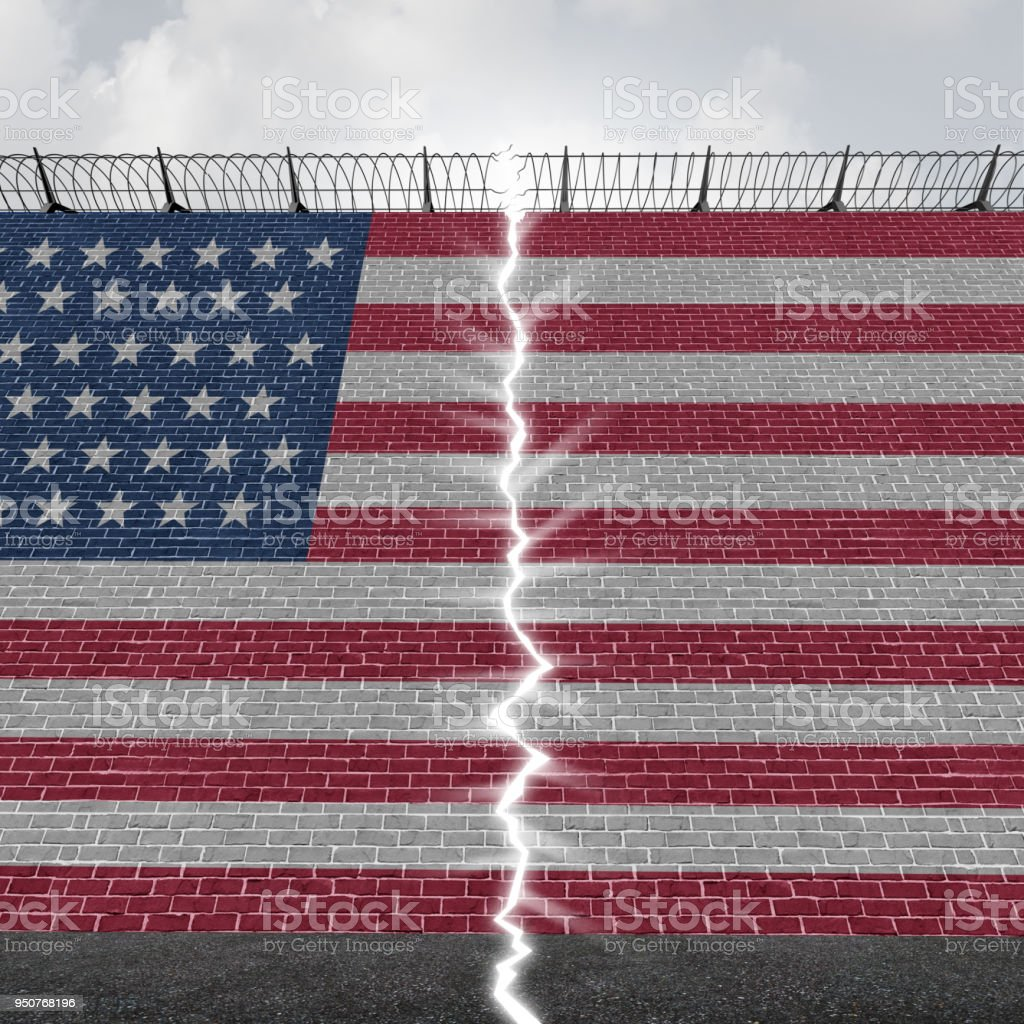 United States Border Wall Concept stock photo