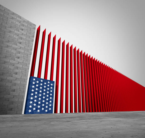 United States Border Wall United States border wall and American immigration and USA refugee crisis concept as barrier or steel slat fence shaped as a US flag as a social issue about refugees or illegal immigrants as a 3D illustration. international border barrier stock pictures, royalty-free photos & images