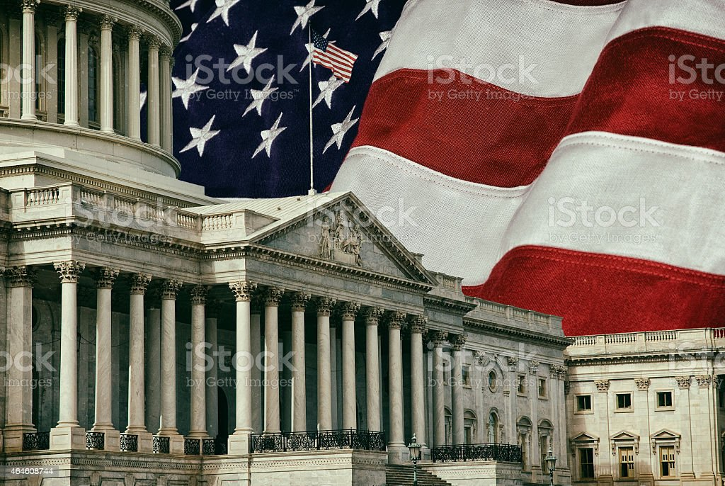 United States Capital with Flag stock photo