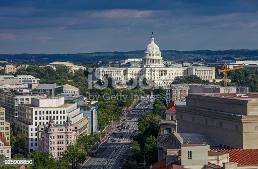 Birds eye view of the West Facade of the U.S. Capitol Building and Pennsylvania Avenue in Washington, DC.