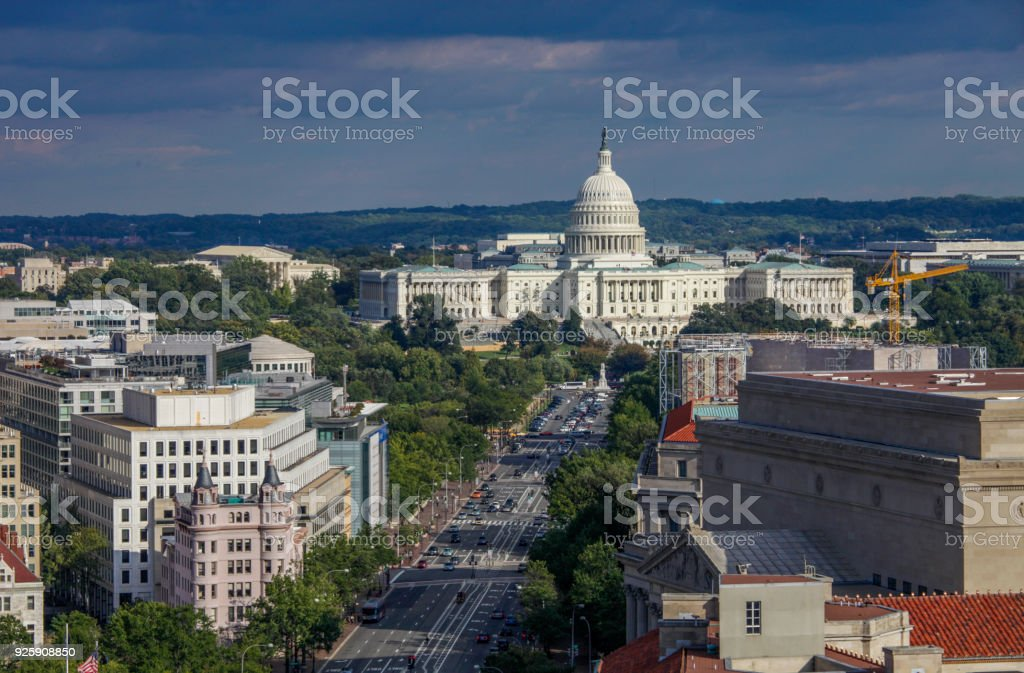 United States Capitol and Pennsylvania Avenue in Washington, DC stock photo
