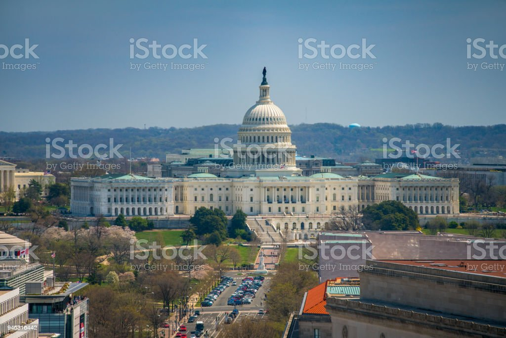 United States Capitol and Pennsylvania Avenue in Washington, DC Birds eye view of the West Facade of the U.S. Capitol Building and Pennsylvania Avenue in Washington, DC. Aerial View Stock Photo