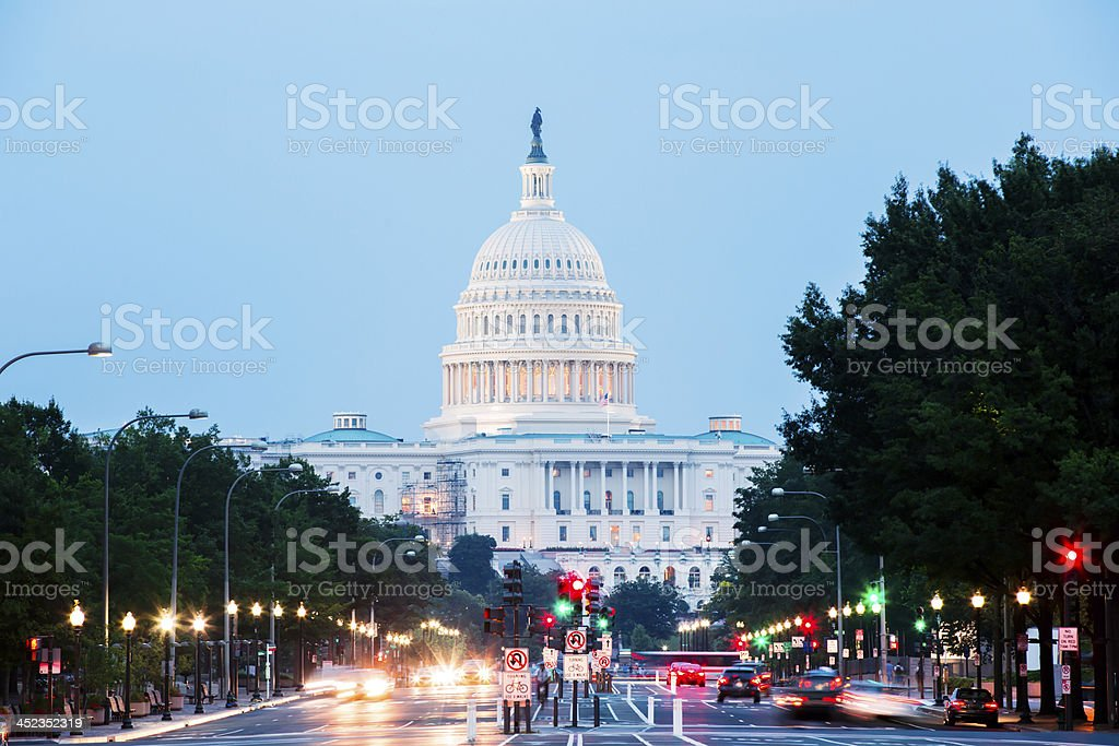 United States Capitol Building at Night with Car Lights Trails royalty-free stock photo