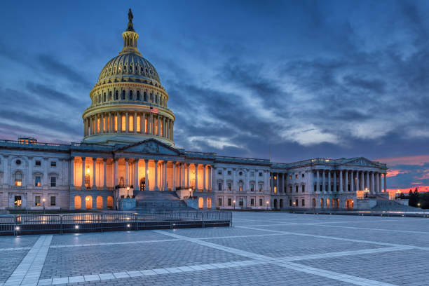 United States Capitol building at Twilight stock photo