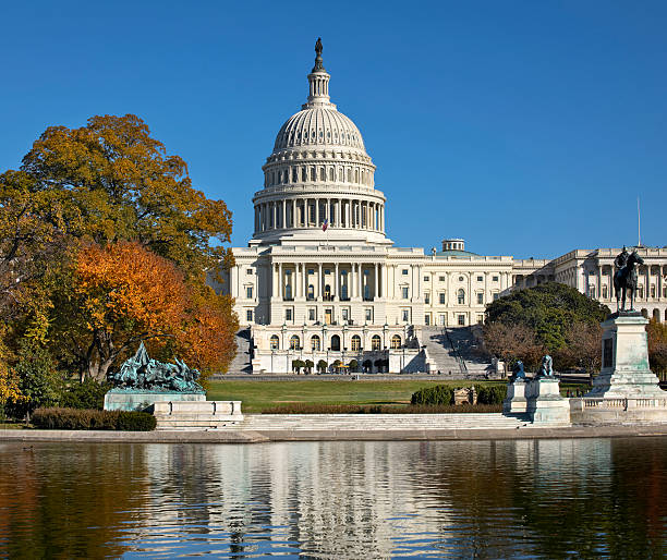 United States Capitol Building in Autumn stock photo