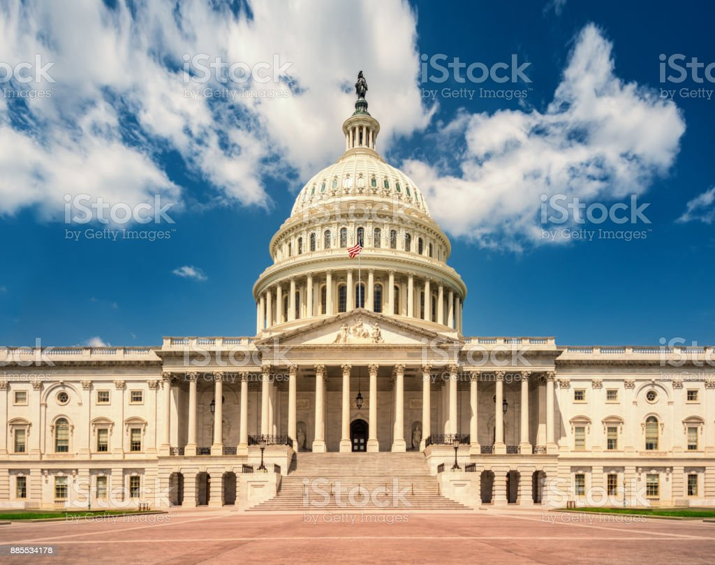 United States Capitol Building in Washington DC - East Facade of the famous US landmark. stock photo