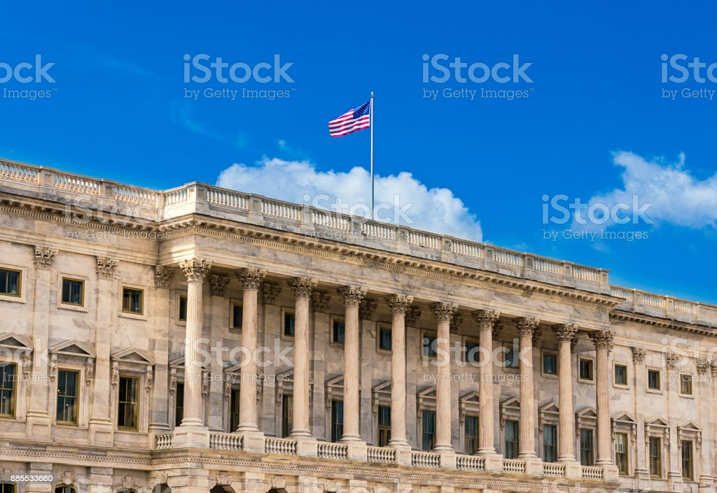United States Capitol Building in Washington DC - North Facade of the famous government building on capitol hill. stock photo