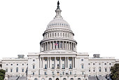 A medium shot of the US Capitol Building isolated on white.