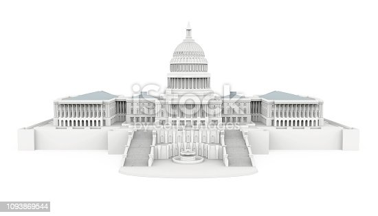 United States Capitol Building isolated on white background. 3D render