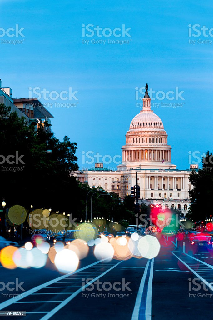 United States Capitol Building Night View with Car Lights stock photo