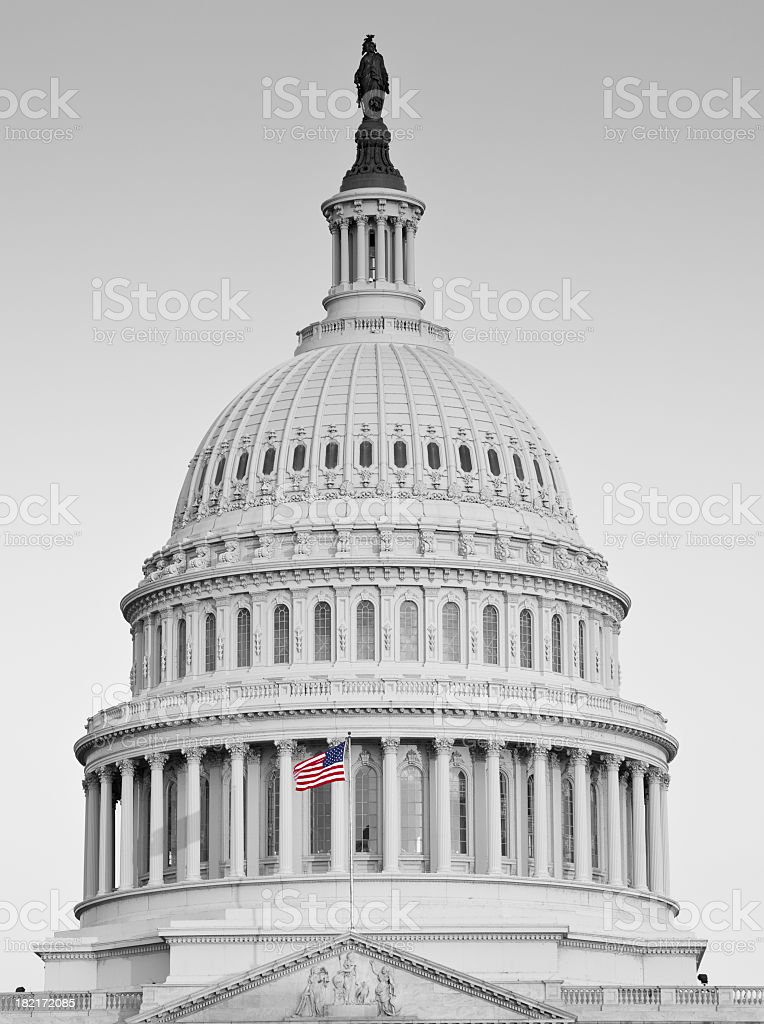 United States Capitol Dome, Black and White with Color Flag stock photo
