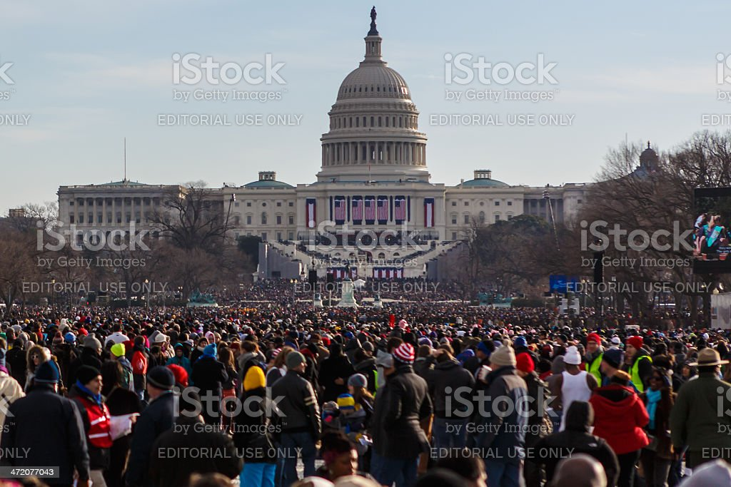 United States Capitol during Barack Obama's presidential inauguration stock photo
