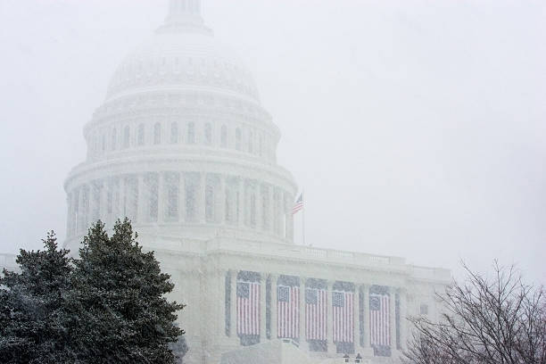 United States Capitol During Snowstorm