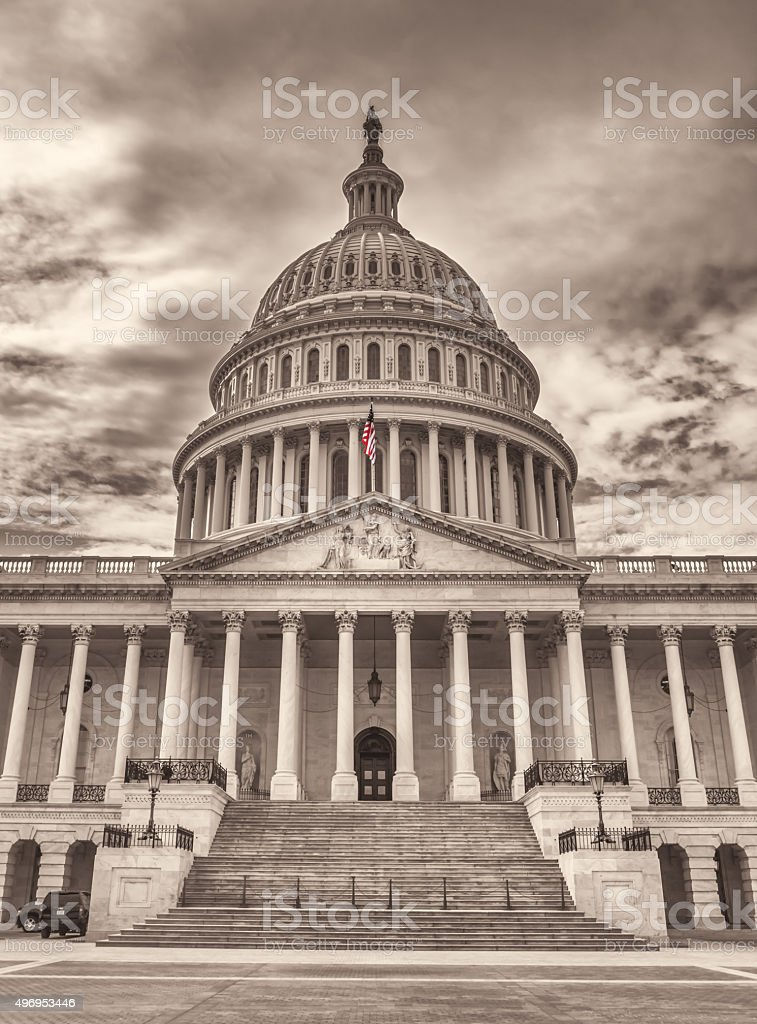 United States Capitol East Center Facade and Dome stock photo