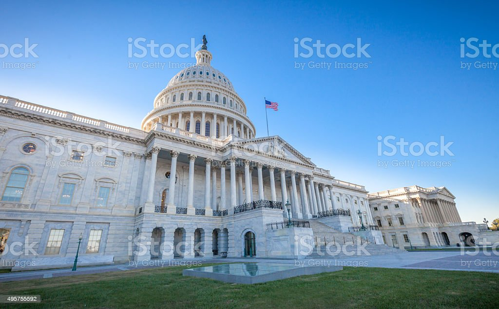 United States Capitol East Facade at angle Low angled view of the U.S. Capitol East Facade Front in Washington, DC. 2015 Stock Photo