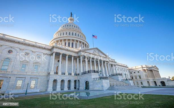 United States Capitol East Facade At Angle Stock Photo - Download Image Now