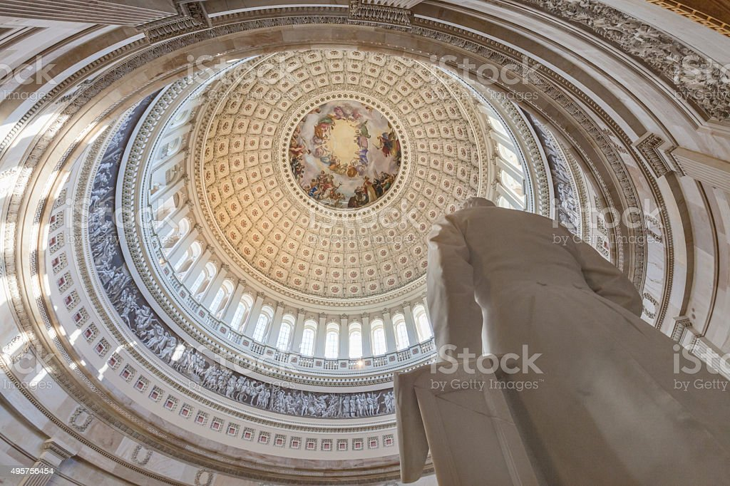 United States Capitol Interior Rotunda, statue and ceiling stock photo