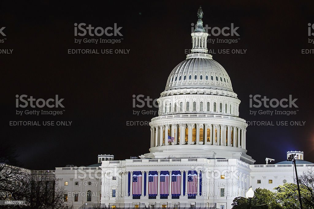 United States Capitol the night of Barack Obama's Presidential Inauguration stock photo