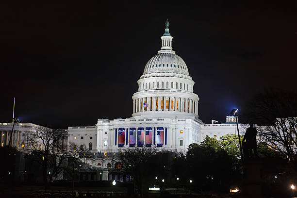 united states capitol the night of barack obama's presidential inauguration - inauguration stok fotoğraflar ve resimler