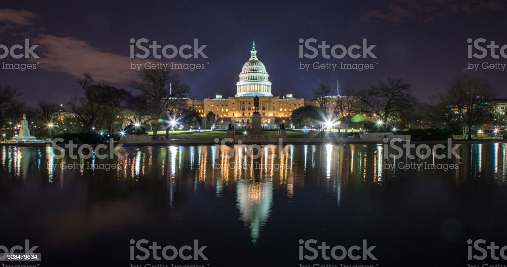 United States Capitol West Across Reflecting Pool in Washington, DC stock photo
