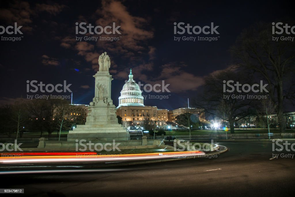 United States Capitol West and Peace Monument in Washington, DC stock photo