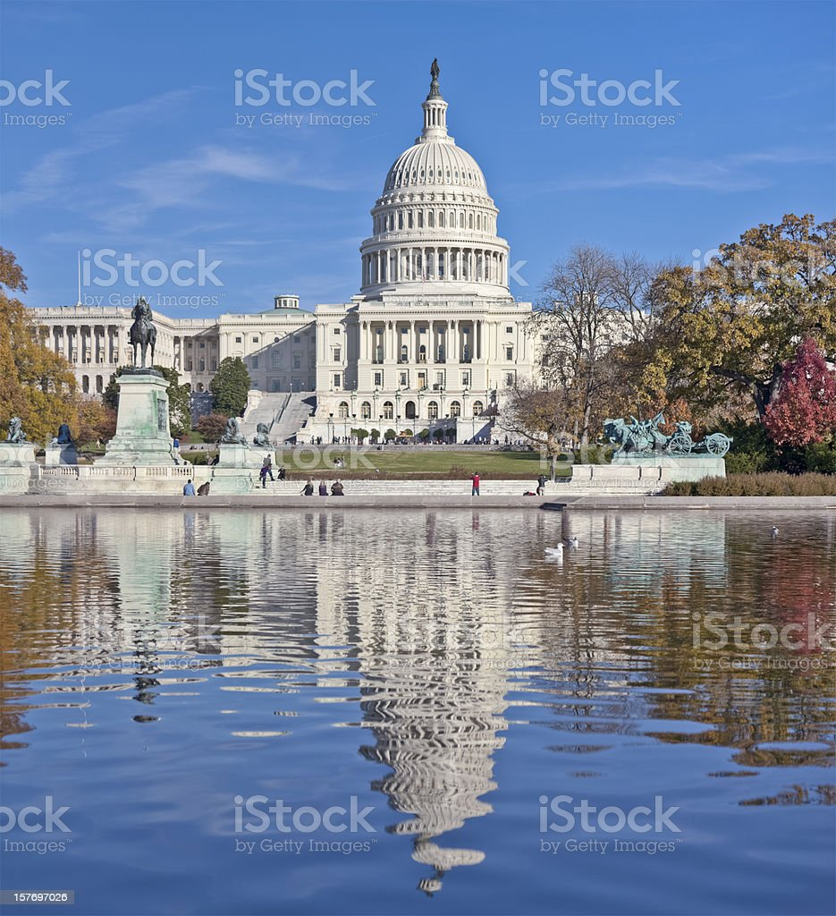 United States Capitol West Facade and Reflection Pool royalty-free stock photo