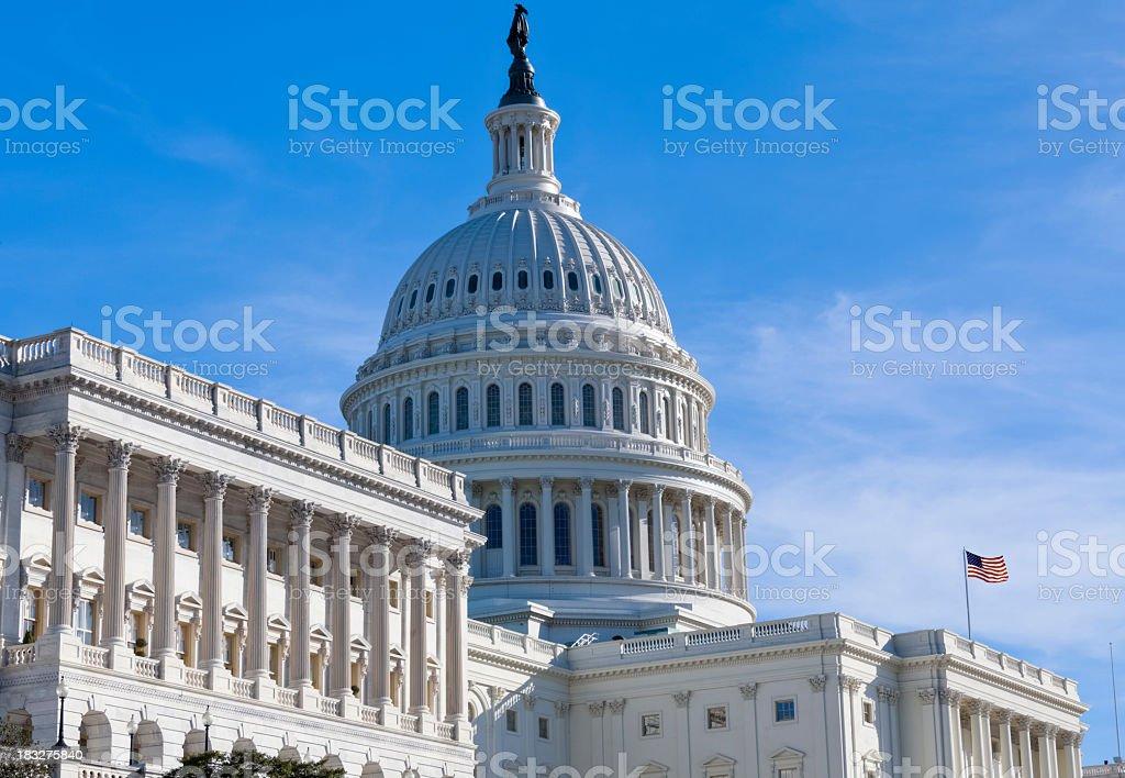 United States Capitol West Facade Under Early Morning Sunshine royalty-free stock photo