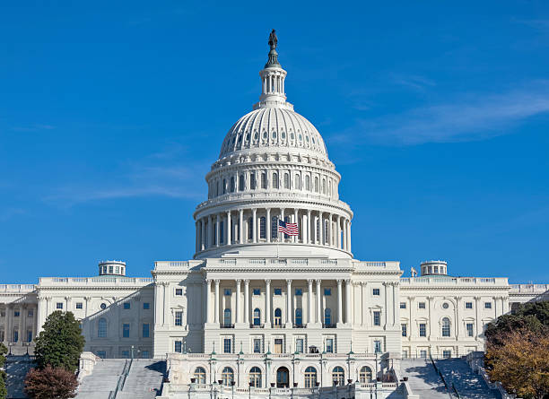 United States Capitol West Facade with Stairways and Numerous Windows stock photo