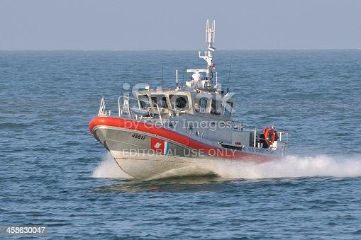 Port Canaveral, Florida, USA - September 2010: A U.S. Coast Guard patrol boat approaching port.