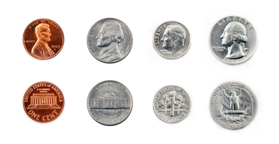 Collection of common United States coins isolated in super high resolution.