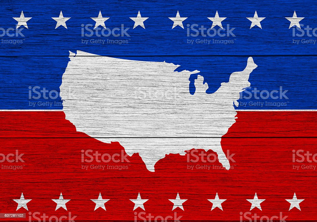 United States colors and map on wood stock photo