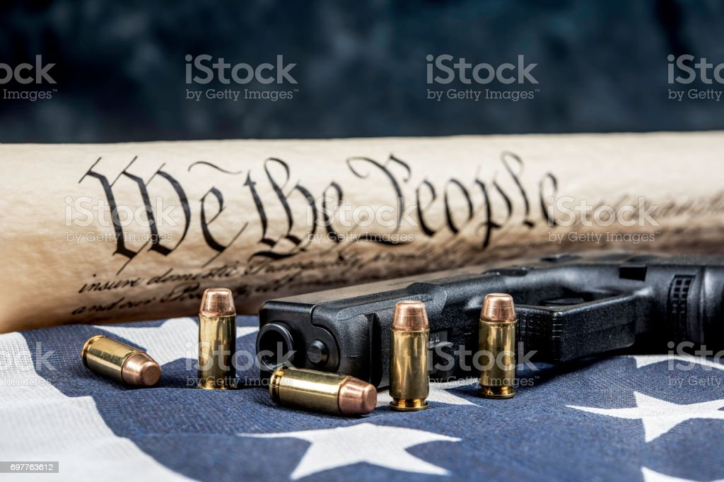 United States constitution and gun rights stock photo