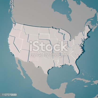 istock United States Country Map Administrative Divisions 3D Render 1127270033