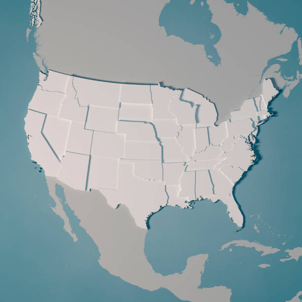 united states country map administrative divisions 3d render - map стоковые фото и изображения