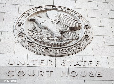Los Angeles, USA - A stone sign for the United States Court House in downtown Los Angeles, California.