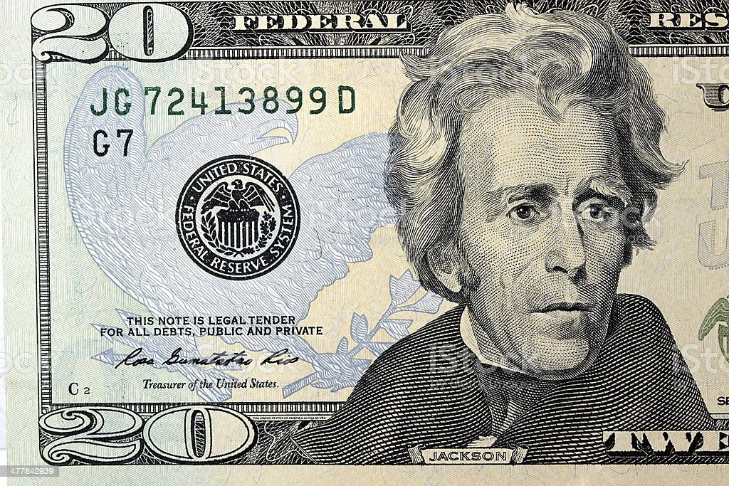 United States Currency Twenty Dollar Bill stock photo