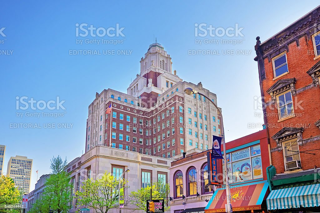 United States Custom House viewed from 2nd Street in Philadelphia stock photo